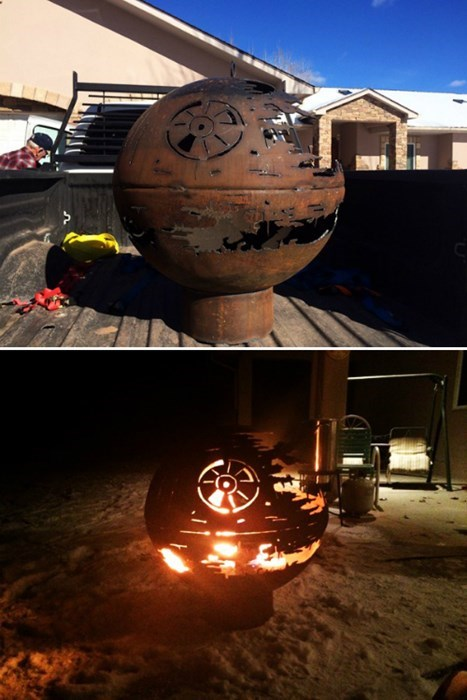 Grandpa Makes a Death Star Fire Pit For His Grand Kids