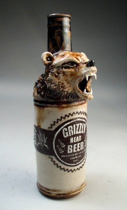 bottle,beer,awesome,grizzly bear,bear,funny