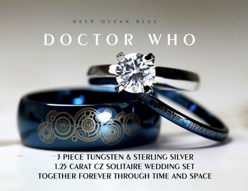 Doctor Who Custom Wedding and Engagement Set For The Whovian Couple
