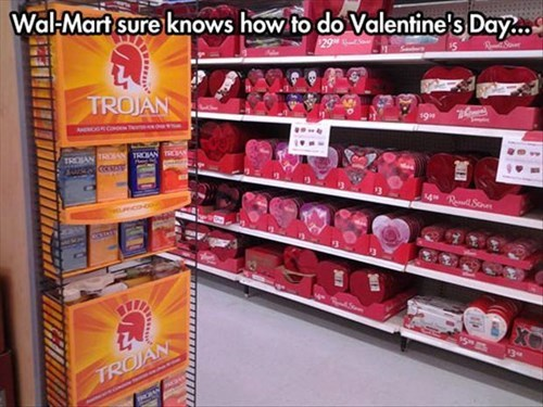 wal mart has chocolates and condoms for valentines day