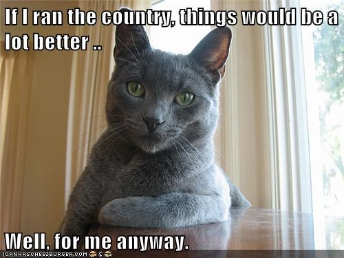 If I ran the country, things would be a lot better ..  Well, for me anyway.