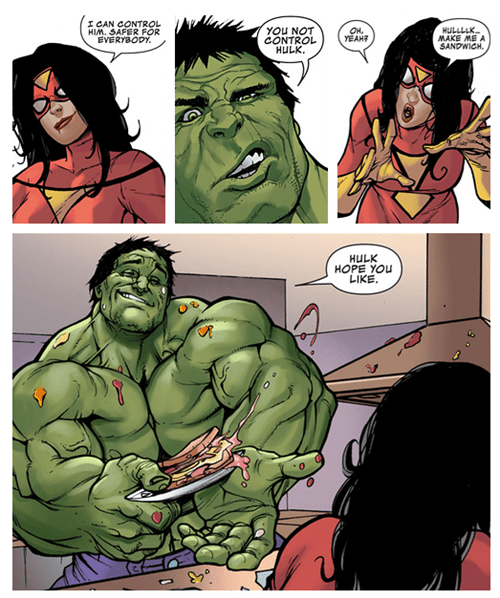 spider woman,Straight off the Page,hulk