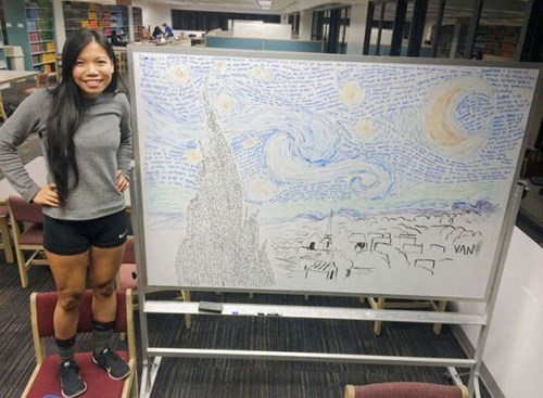 student turns her exam notes into starry night.