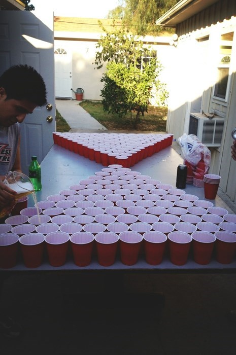 a giant game of beer pong