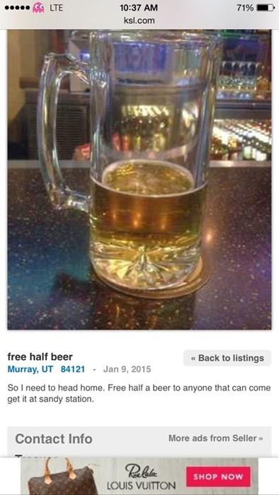 free half beer left at a pub
