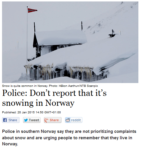 The Norwegian Police Have Had it Up to Here With Winter