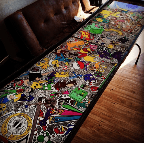 awesome art covered beer pong table