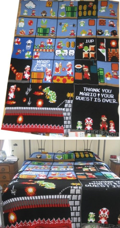 This Fan's Crocheted Mario Blanket Is Amazing