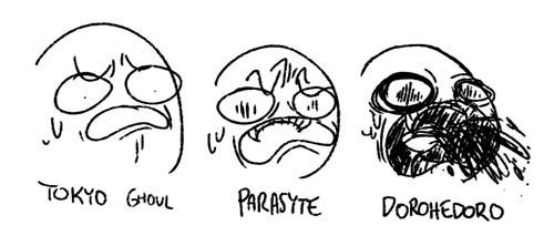 anime,horror,theoftenrightgal,tokyo ghoul,parasyte,dorohedoro