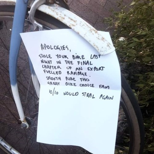 Only the Best Bike Thieves Leave Reviews