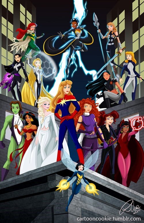 marvel,disney princesses,superheroes