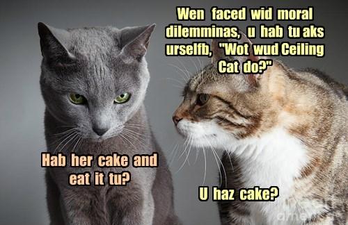 "Wen   faced  wid  moral  dilemminas,   u  hab  tu aks  urselfb,   ""Wot  wud Ceiling  Cat  do?"""