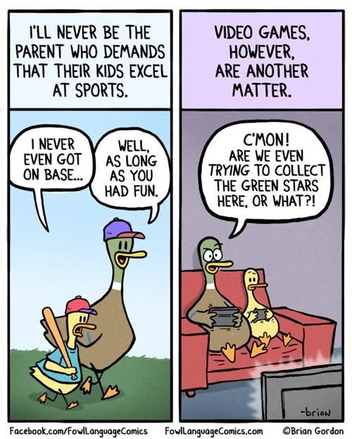 sports,parenting,video games,web comics