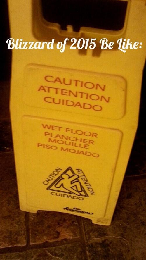 wet floor,winter storm juno