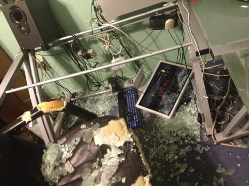 glass table,you died,gamer rage,gamers