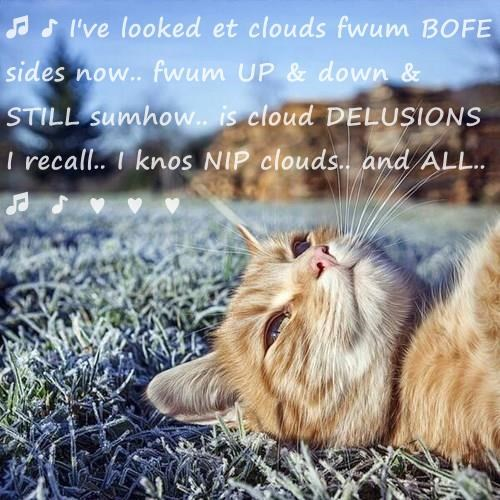 ♫ ♪ I've looked et clouds fwum BOFE sides now.. fwum UP & down & STILL sumhow.. is cloud DELUSIONS I recall.. I knos NIP clouds.. and ALL.. ♫  ♪  ♥  ♥  ♥