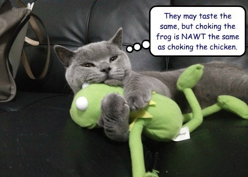 They may taste the same, but choking the frog is NAWT the same as choking the chicken.
