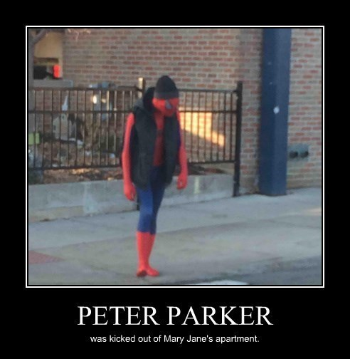 Sad,kicked out,Spider-Man,funny
