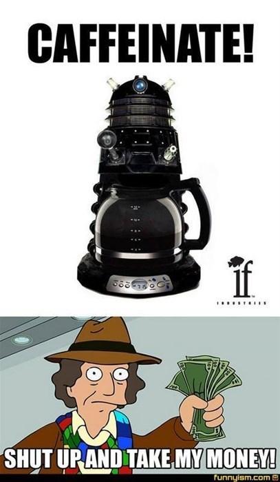 funny doctor who dalek coffee pot pun