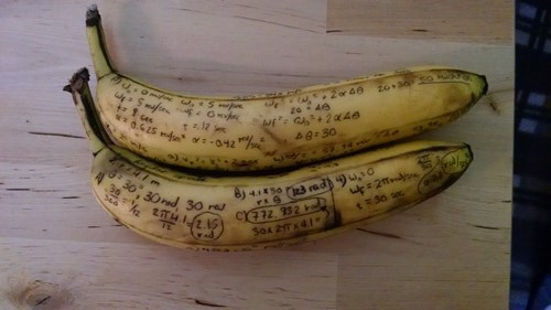 when you run out of paper, do your homework on a banana!