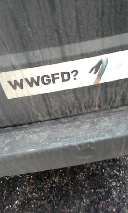 bumper sticker, gaben,