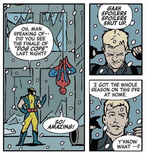 Hawkeye Likes to Binge Watch His TV