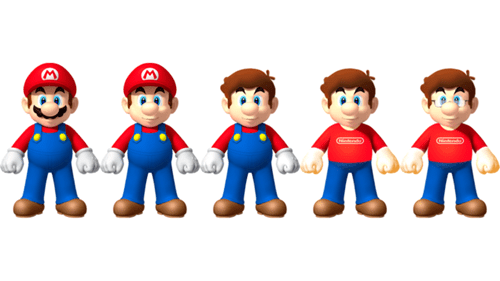 What Happens When Mario Shaves, Takes Out His Contacts, and Takes Off His Overalls?