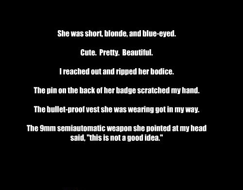 She was short, blonde, and blue-eyed.  Cute.  Pretty.  Beautiful.  I reached out and ripped her bodice.  The pin on the back of her badge scratched my hand.  The bullet-proof vest she was wearing got in my way.  The 9mm semiautomatic weapon she pointed at