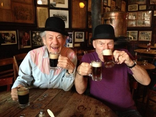 drinking beer with Ian Mckellen and Patrick Stewart