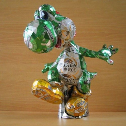 yoshi made of beer cans