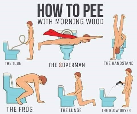 peeing with morning wood is complicated.