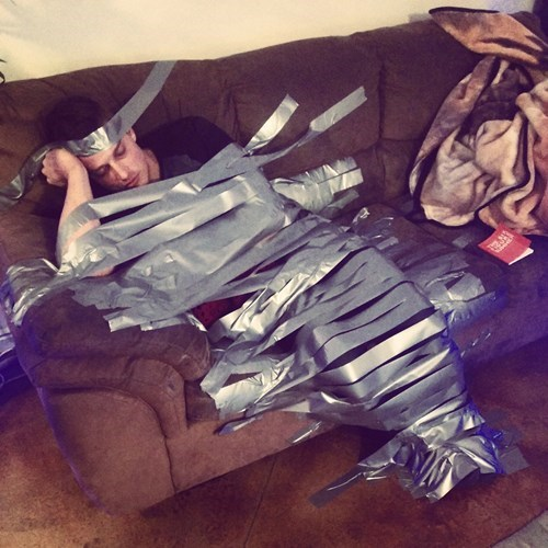 duct tape is a classic way to prank the passed out.