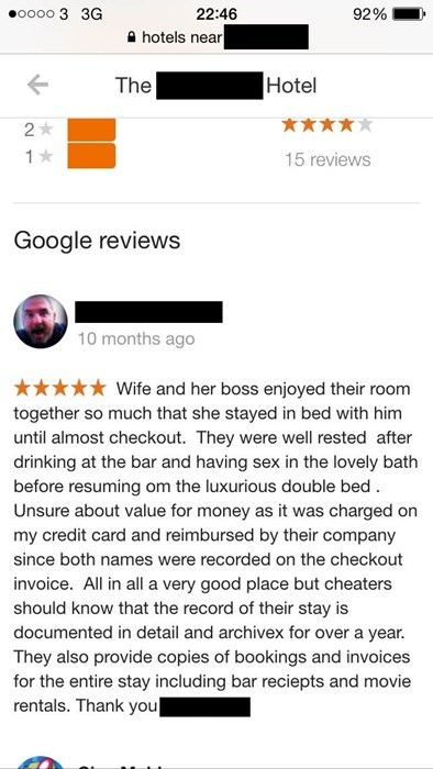 Don't cheat in a hotel with your husband's creditcard.