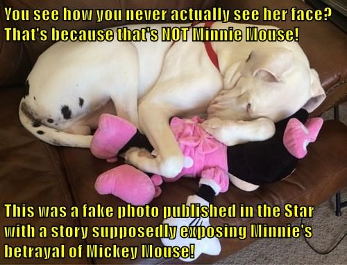 You see how you never actually see her face? That's because that's NOT Minnie Mouse!  This was a fake photo published in the Star with a story supposedly exposing Minnie's betrayal of Mickey Mouse!