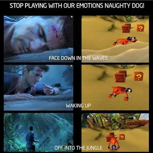 crash bandicoot,uncharted,gaming,homage