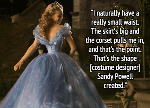 geek news cinderella defends tiny waist