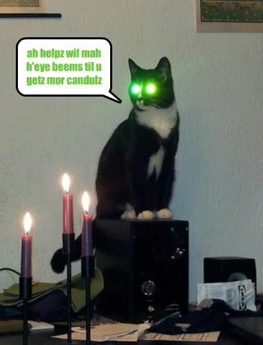 ah helpz wif mah h'eye beems til u getz mor candulz