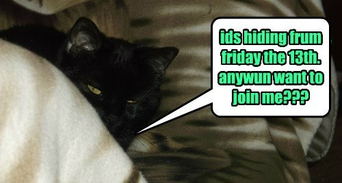 ids hiding frum friday the 13th. anywun want to join me???