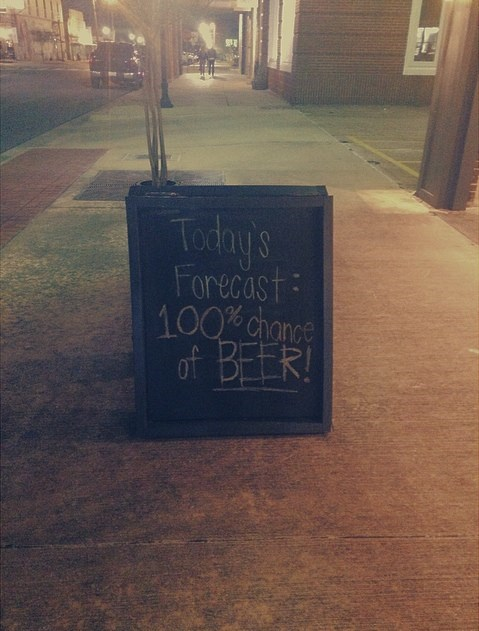 100% chance of beer!