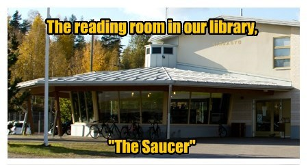 "The reading room in our library,       ""The Saucer"""