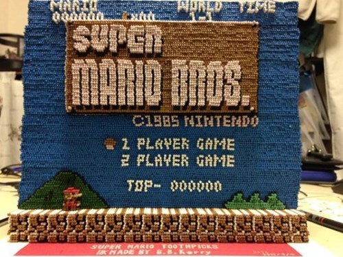 14,000 Toothpicks Make Up This Nifty Mario Craft Project!