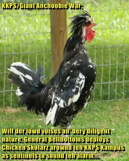 KKPS/Giant Anchoobie War:  Wiff der lowd voises an' bery diligent nature, General Bellbottoms deploys Chicken Skolarz arownd teh KKPS Kampus as sentinels to sound teh alarm....