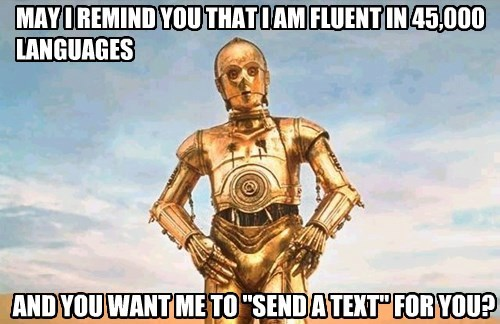 MAY I REMIND YOU THAT I AM FLUENT IN 45,000 LANGUAGES