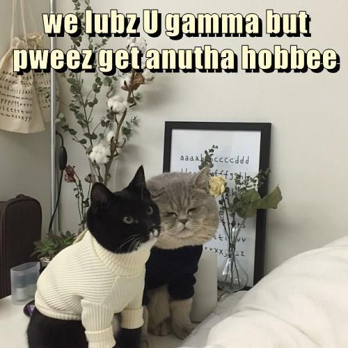 we lubz U gamma but    pweez get anutha hobbee