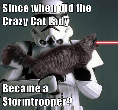 Since when did the Crazy Cat Lady  Became a Stormtrooper?