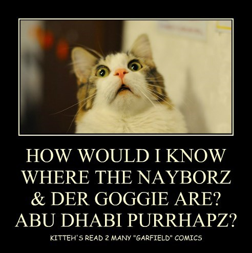 HOW WOULD I KNOW WHERE THE NAYBORZ & DER GOGGIE ARE? ABU DHABI PURRHAPZ?