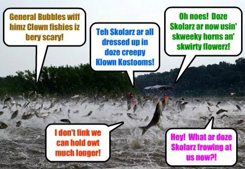 KKPS/Giant Anchoobies War: As teh Battle ob BeaverDam rages, teh Skolarz wiff all der allies begin to gain teh upper paw! But it is one bery uneggspected fing in particular dat finally turns teh tide!