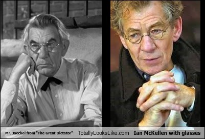 """Mr. Jaeckel from """"The Great Dictator"""" Totally Looks Like Ian McKellen with glasses"""