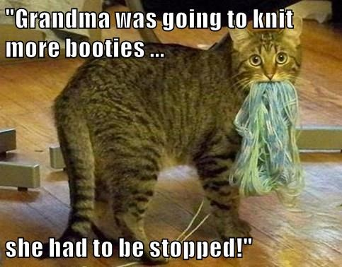 """Grandma was going to knit more booties ...  she had to be stopped!"""
