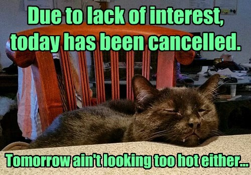 Due to lack of interest, today has been cancelled.